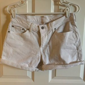 Levis high waisted white shorts